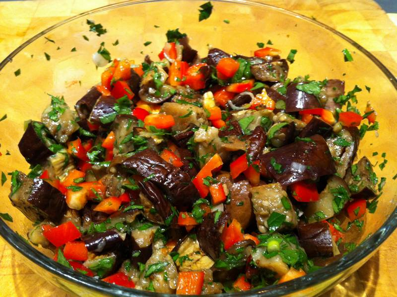 Eggplant, Red Pepper and Chili – Middle Eastern Mezze Appetizer