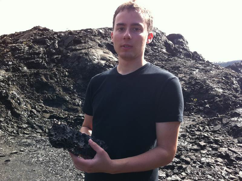 Andrew with lava rock