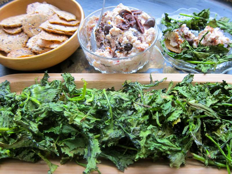 Garlicky Rapini Chips & Ricotta Spread with Crackers