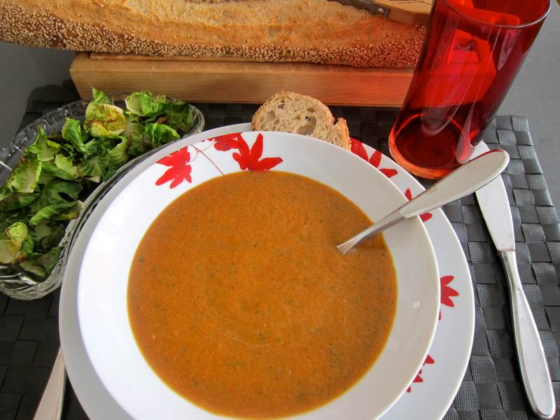 Roasted Red Pepper Soup with Brussels Sprouts Chips