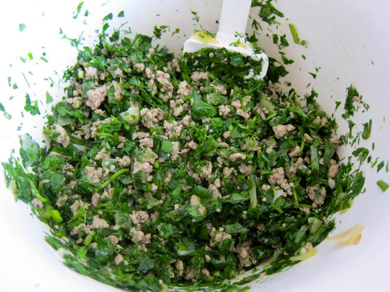 Persian Steamed Rice with Green Herbs and Turkey