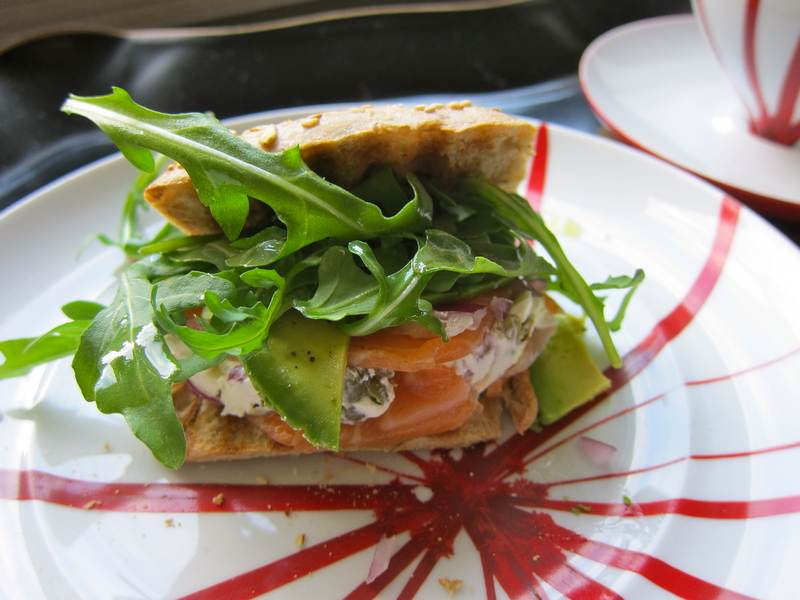 Smoked Salmon Tower of Brunch in Fitness Roll with Arugula