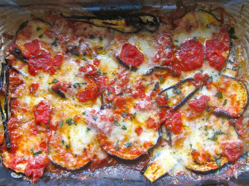 Single Layer Eggplant Zucchini Parmesan