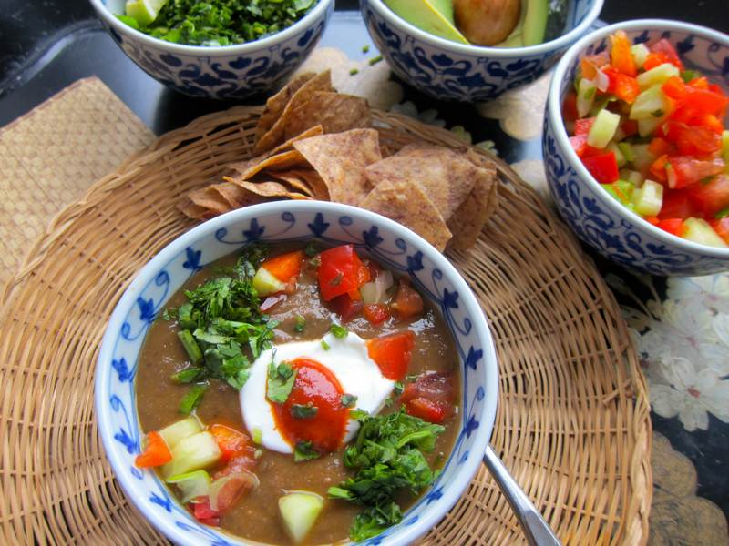 Mexican Black Bean Soup with Garnishes Galore