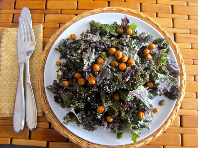 Kale Faux Caesar Salad with Roasted Chickpeas Print Ready Recipe