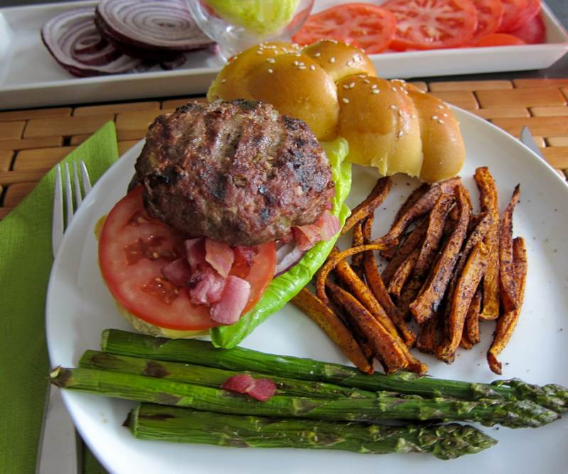 Caesar Burgers with Skinny Oven Sweet Potato Fries