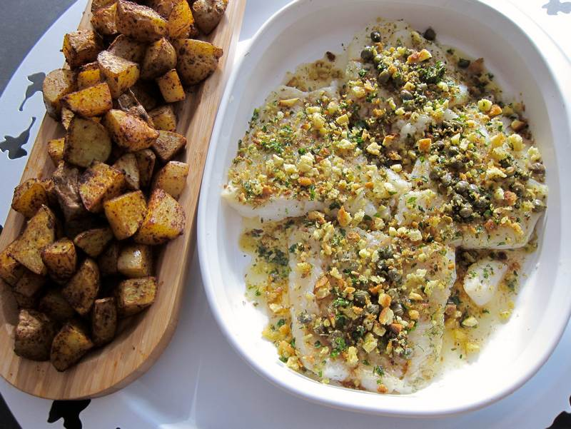 White Fish with Lemon Brown Butter and Roasted Potatoes