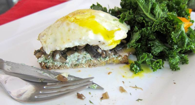 Eggs Over Easy with Mushrooms on Rye – What a Mouthful!