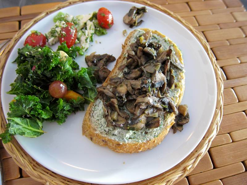Eggs Over Easy with Mushrooms on Rye