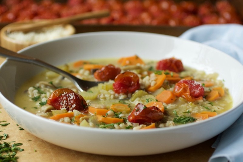 Parmesan Barley Soup with Roasted Cherry Tomatoes