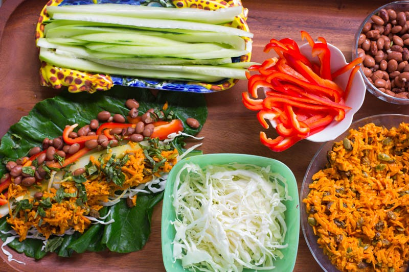 Curried Carrot Tahini Salad and Collard Wraps – Brighten Your Day