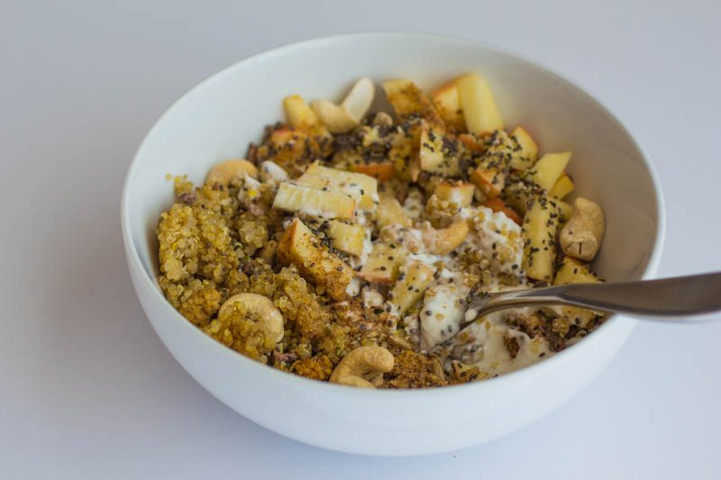 Quinoa Breakfast Bowl and French Press Coffee