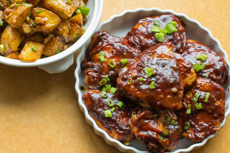 Oven-BBQ Chicken Thighs with Warm Dijon Potato Salad