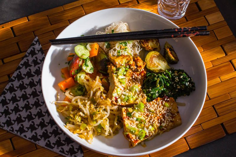 Spicy Garlicky Sesame Tofu Dinner Bowl