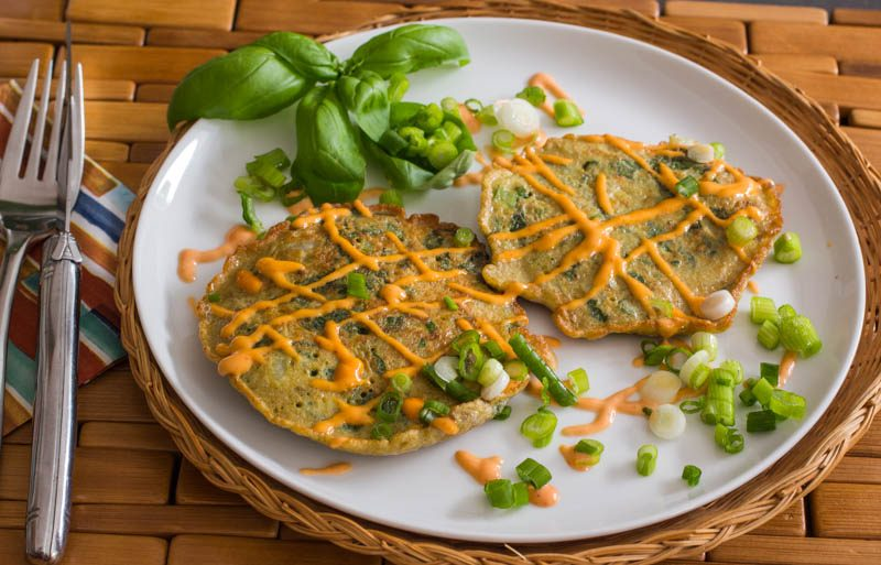 Savoury Asian Style Pancakes with Hot Sauce