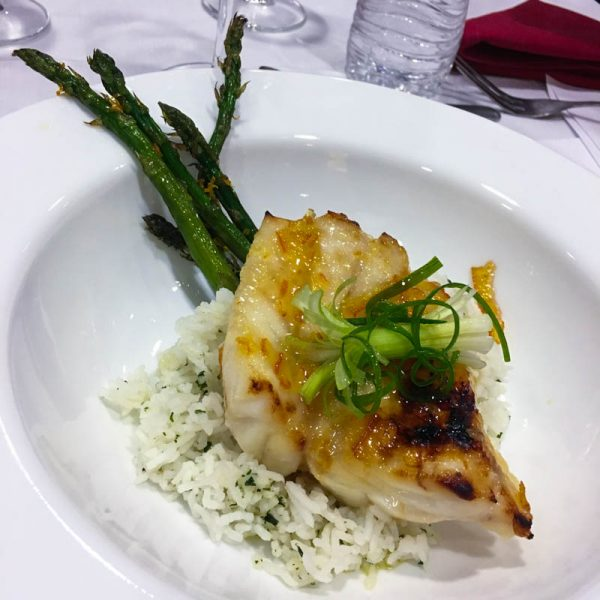 Orange Marmalade Glazed Grouper with Cilantro Rice and Roasted Asparagus with Citrus Zest